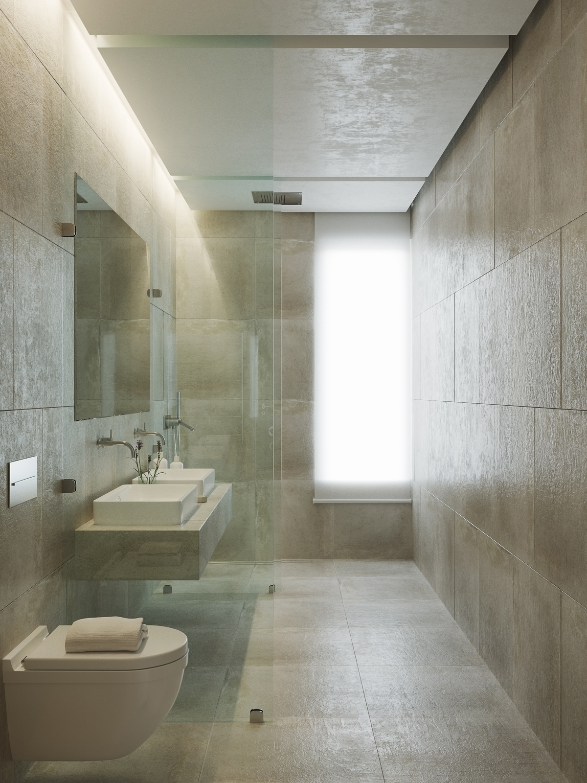 beige bathroom, modern bathroom design, beige tile, glass partition bathroom, neutral colors interior