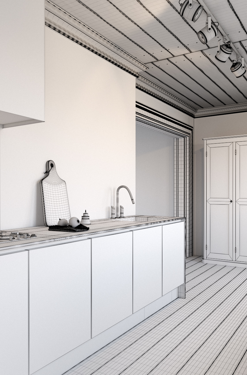 making of a kitchen with corona render