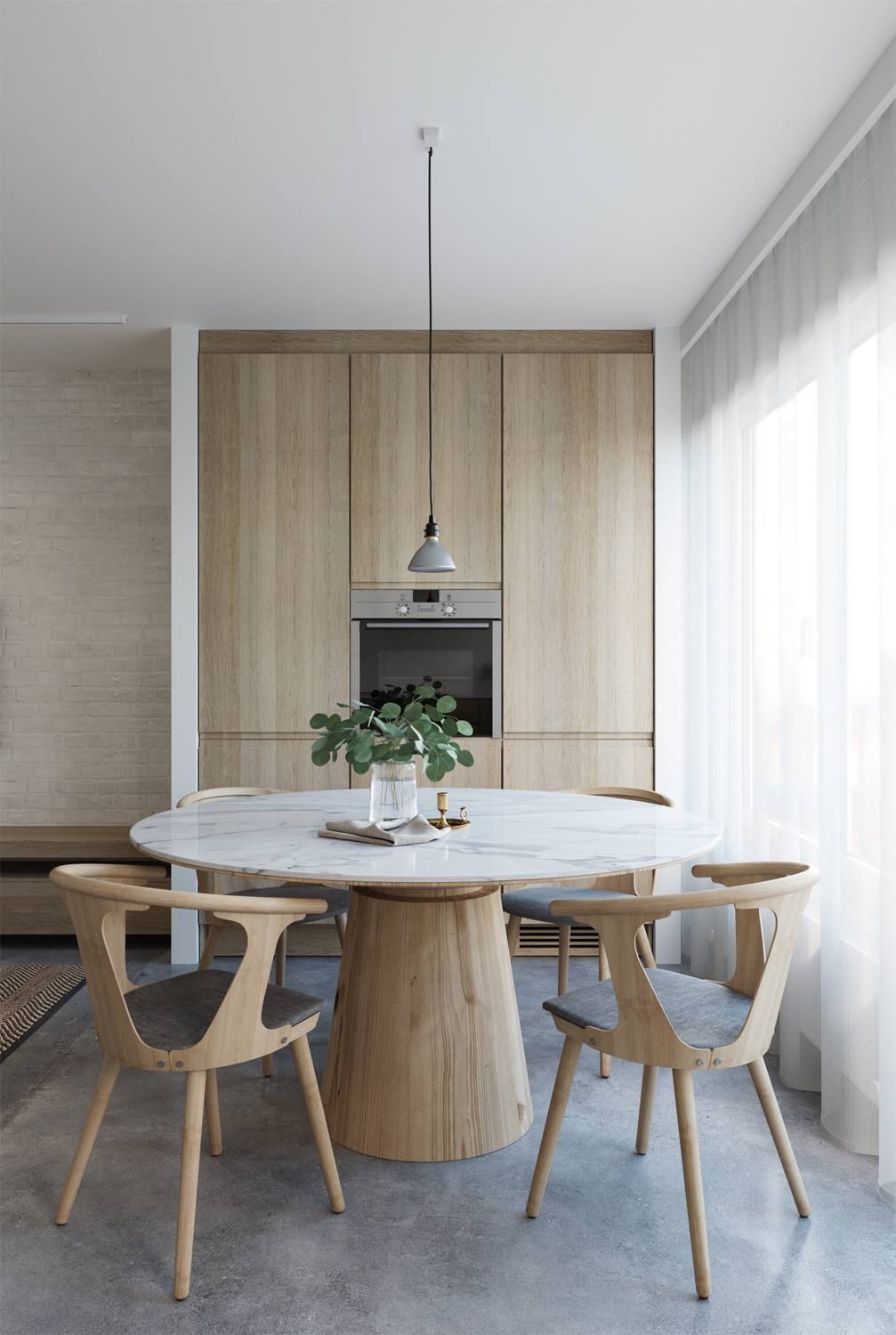 E design kitchen and dining area, 3d kitchen visualisation, e-design process, small space interior design, concrete floor, timber veneer cabinetry, dining area design, inbetween chair, round wood table