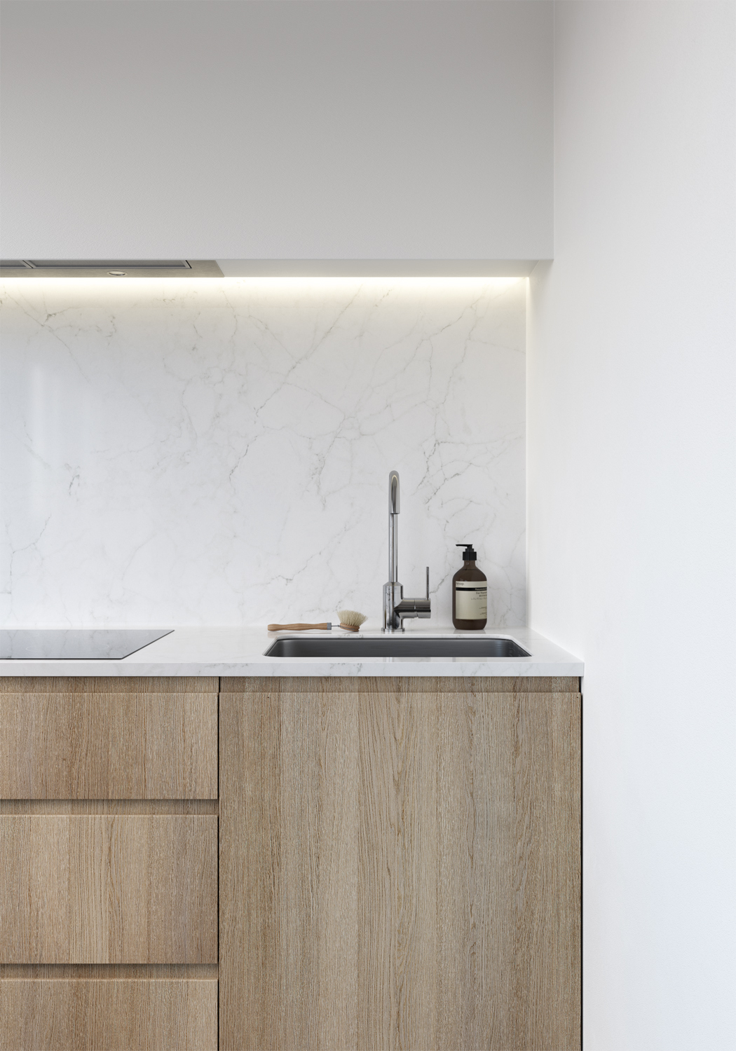 E design kitchen and dining area, 3d kitchen visualisation, e-design process, small space interior design, timber veneer cabinetry, marble slab backsplash, marble slab countertop,