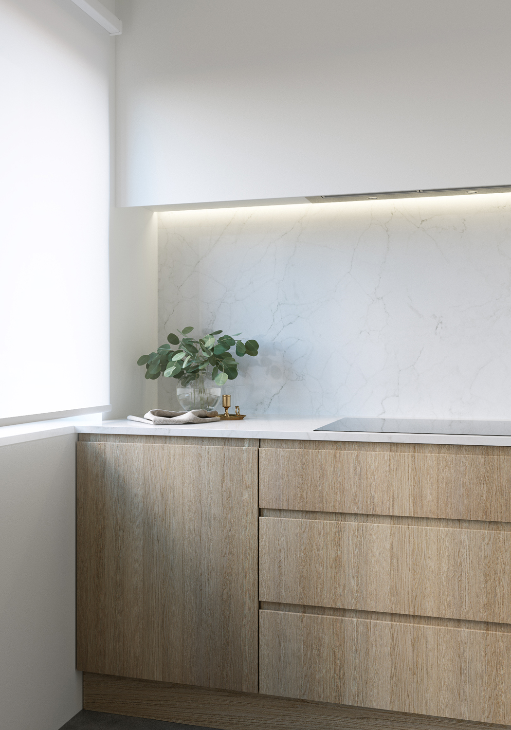 E design kitchen and dining area, 3d kitchen visualisation, e-design process, small space interior design, concrete floor, timber veneer cabinetry, marble slab backsplash, marble slab countertop, white roller shades