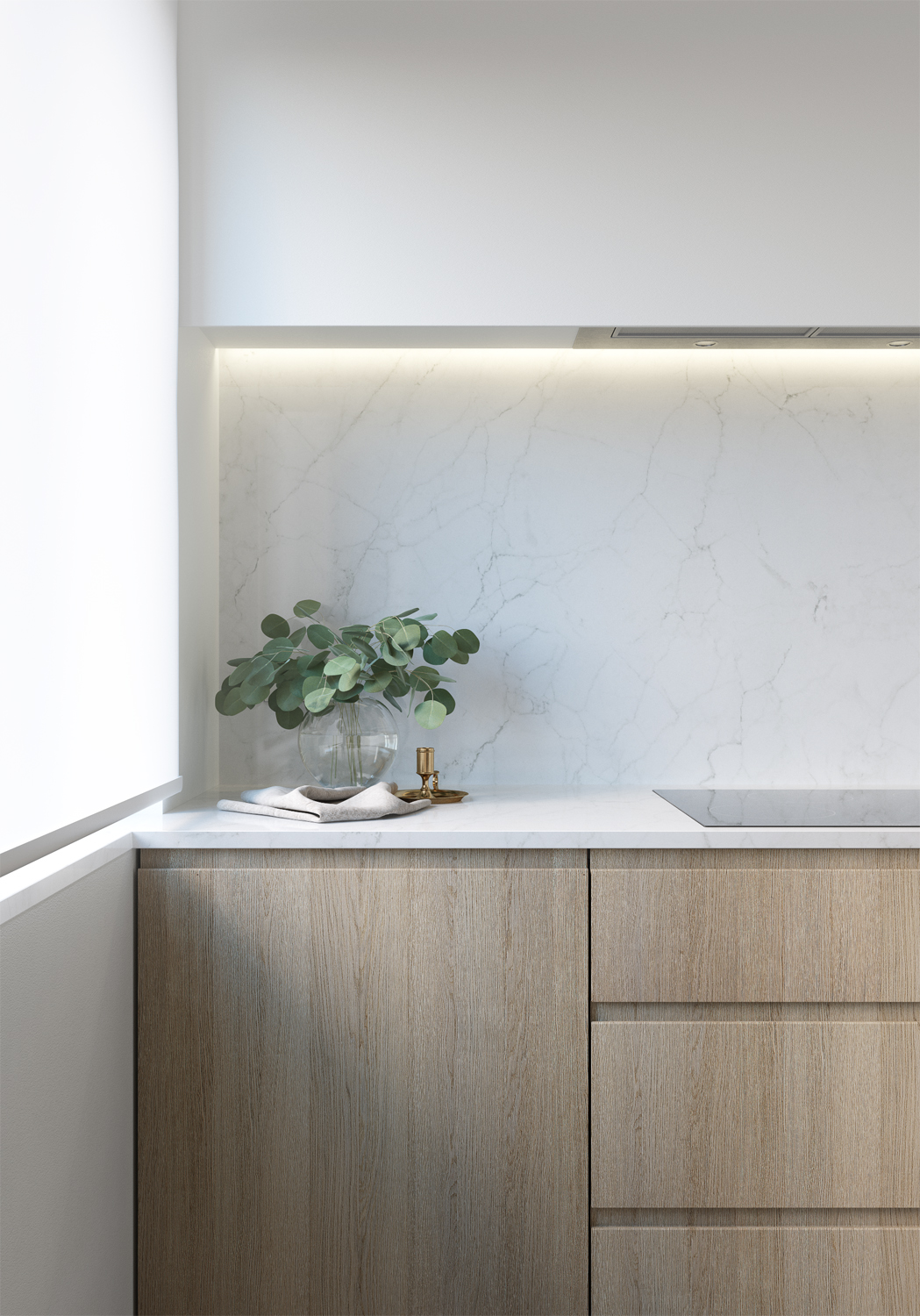 E design kitchen and dining area, 3d kitchen visualisation, e-design process, small space interior design, timber veneer cabinetry, marble slab backsplash, marble slab countertop, white roller shades