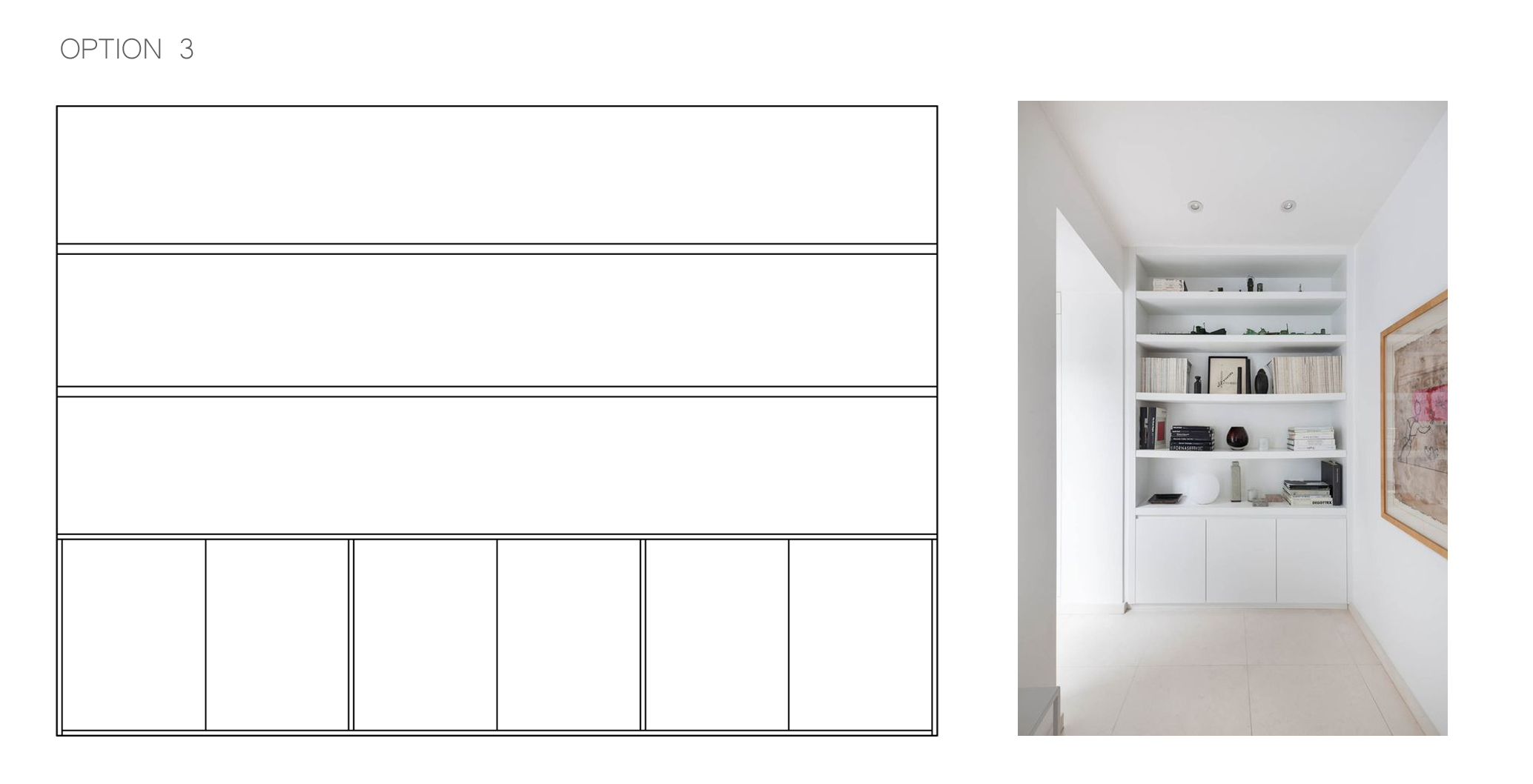 storage solution, wall to wall shelves, cabinet with sliding doors