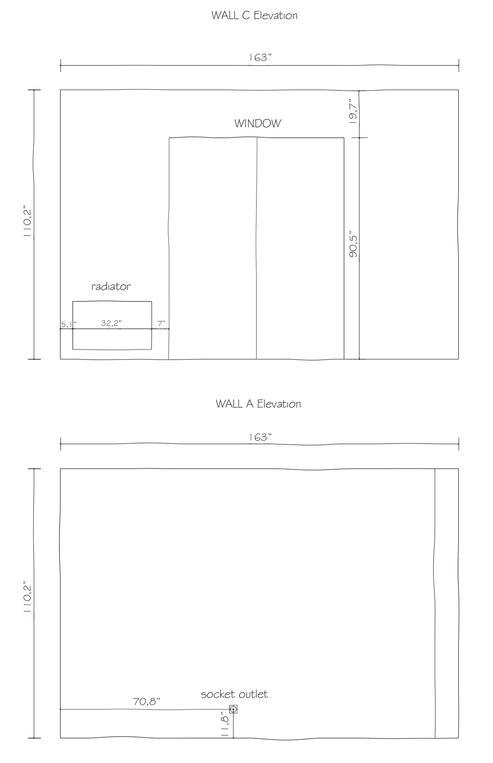 measuring guide, how to measure a room, elevation drawing