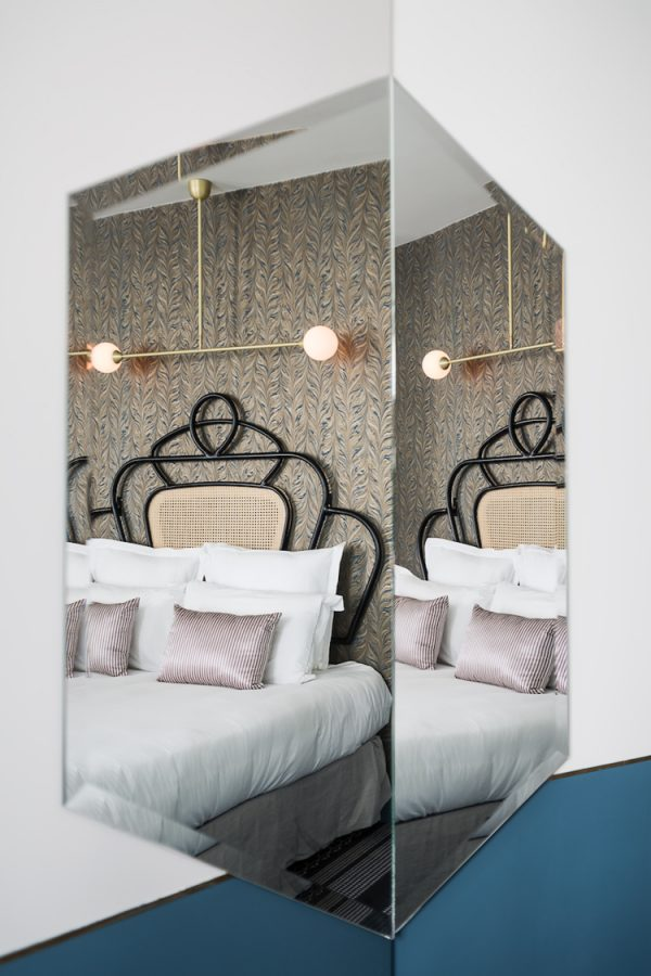 Paris hotel, CURVED BEDHEADS, retro style, ART NOUVEAU furniture, HOTEL PANACHE, pastel colors in interior, retro phone