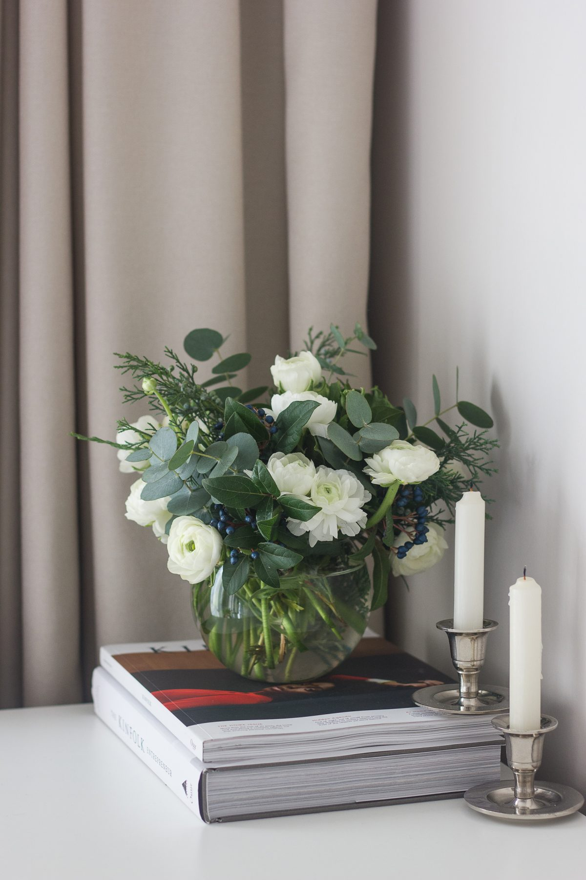 White Ranunculus and Eucalyptus Bouquet, home decor, chrome candle holders, kinfolk