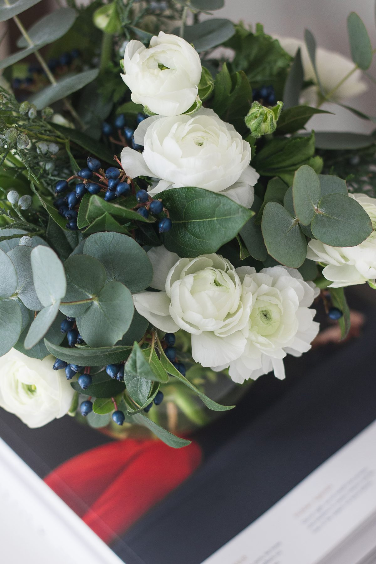 White Ranunculus and Eucalyptus Bouquet, home decor, kinfolk