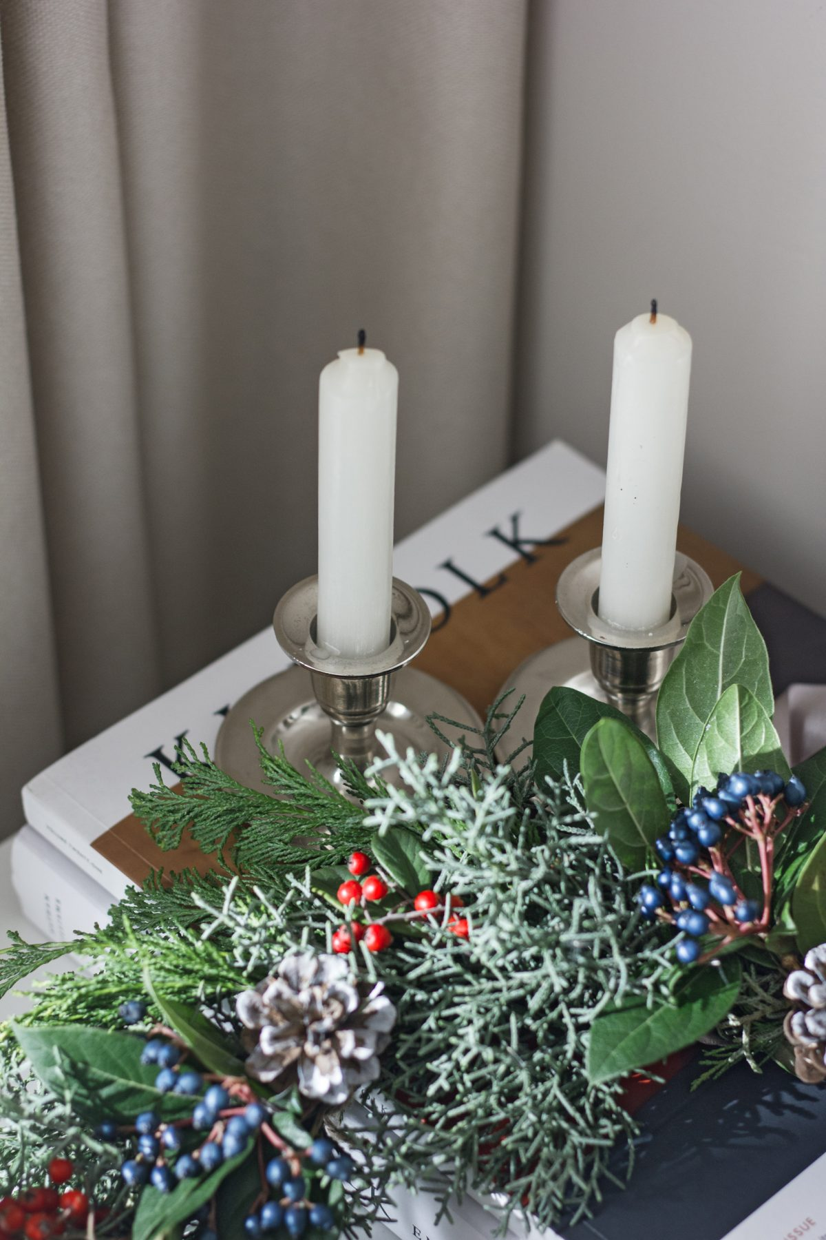 home decor, chrome candle holders, kinfolk